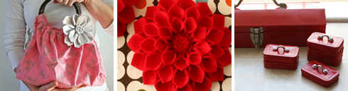 Fabric flower | Felt dahlia | Altoids toolbox