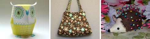 dimensional paper owl | pleated purse | hedgehog pincushion