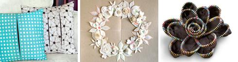 pillows | felt flower wreath | zipper flower