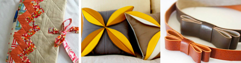 Patchwork notebook cover | felt flower pillows | leather headband