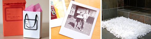 envelope gift bag | Polaroid magnet | recycled bath towel rug