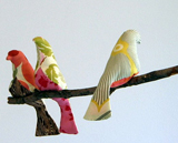 bird mobile made with stuffed fabric birds