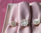 Napkin rings made using vintage buttons