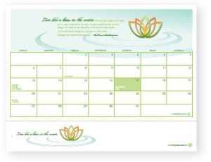 March 2011 calendar and bookmark with lotus flower