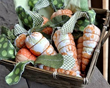 sewn and stuffed  fabric carrots