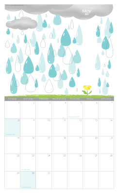 May 2011 calendar and bookmark