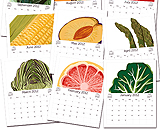 Watercolor fruit and vegetables decorate monthly calendar pages