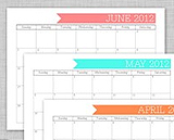 Full page monthly calendar pages with minimal additional decoration