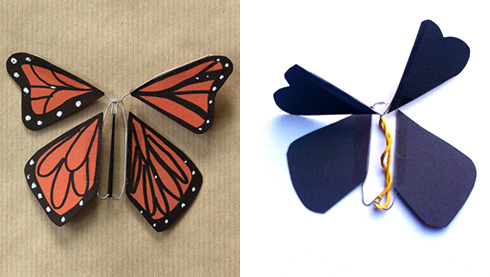 Left: An adorable wind-up paper butterfly from; Right: My flop attempt