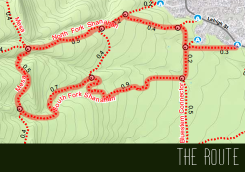 Loop trail route: Shanahan Ridge and Mesa Trails